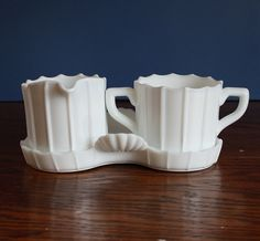 SALE Vintage White Paneled Creamer Sugar on Tray by riceandbell