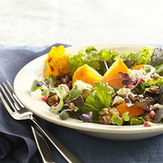 Persimmon and Blue Cheese Salad With Walnuts:  Persimmons are a great source of vitamin A and the powerful antioxidant lycopene. Walnuts add a crunchy boost of heart-healthy omega-3s. Get the recipe | Health.com