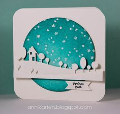 handmade card from Annikarten: Das doppelte Lottchen # 33 ... turquoise and white ... die cut landscape lines over negative circle space backed with starfilled sky ... luv it!
