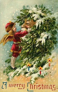 Vintage Christmas PostCard, with a bayberry covered Santa.( This is a hold-to-light postcard) Christmas Fairy, Old Christmas, Old Fashioned Christmas, Victorian Christmas, Christmas Angels, Christmas Greetings, Father Christmas, Xmas, Christmas Ornament