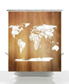 Nice World Map Shower Curtain   Toasted Golden Brown Antique Tones World Map    Home Decor Earth Tones Fall Brown Rust Bathroom