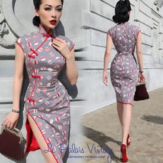 FREE SHIPPING 2014 Le palais limited edition vintage elegant classic polka dot color block slim placketing cheongsam