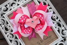 Valentine Pink Layered Hair Bow with Heart Clip. $12.00, via Etsy.