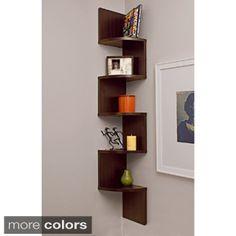 Easy corner shelving idea for wall mounted media center in living