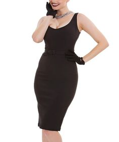 Another great find on #zulily! Black Belted Bodycon Dress - Plus Too #zulilyfinds
