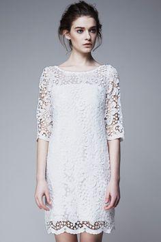 #Romwe   Half Sleeve Lace White Dress