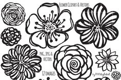 21 black and white flowers clipart vectors download free vector flower clipart hand painted brush by foxydigitalart on creativemarket mightylinksfo