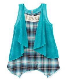 Loving this Teal Plaid Sidetail Tank & Vest - Girls on #zulily! #zulilyfinds