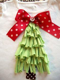 Long Sleeve Raggy Christmas Tree T-Shirt--Appliqued-Sizes Christmas Tree Onesie, Christmas Applique, Christmas Sewing, Christmas Love, Christmas Shirts, Christmas Crafts, Christmas Ideas, Tacky Christmas, Xmas Shirts