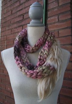Brooklyn Mauve Tan Ombre Knit and Upcycled Blonde Fur Scarf Wrap by BuffaloBlueDesigns, $56.00