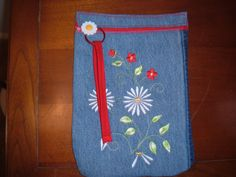 Upcycled Recycled Denim Embroidered Daisy by TattooedTextiles, $15.00