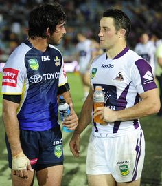 JT and Cooper Cronk ❤️ Cowboys vs. Best Football Players, Rugby Players, Johnathan Thurston, Australian Rugby League, National Rugby League, Cowboys Vs, Rugby Men, Soccer Boys, Best Player
