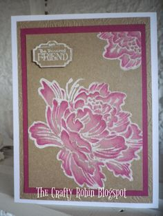 Beautiful #Stampendous Jumbo Peony card from Elizabeth at The Crafty Robin