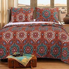 Quilt Set with Shams 3 Piece Brushed Microfiber Boho Chic Geometric Mandala Floral Design Blue Orange Neutral Bedding Luxury Reversible Bedspread Double Bed Full/Queen Size - Includes Bed Sheet Straps Ruffle Bedding, Quilt Bedding, Bungalow, Space Furniture, Quilt Sets, Luxury Bedding, Modern Bedding, Neutral Bedding, Comforter Sets