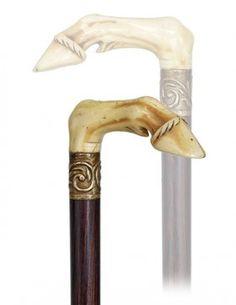 136. Ivory Turf Cane-19th Century-L-shaped horse leg an