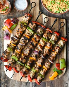 As pleasing to the eye as they are to the palate. The marinade of lime juice, spices, cilantro and honey, develops big flavour in mere minutes and grills up, in just minutes more. Skewers, Grilled Chicken, Pork Recipes, Guacamole, Sausage, Spicy, Grilling, Nook, Vegetables