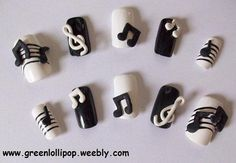 Japanese Nail Art Set Music Notes by GreenLollipopDesigns - for the REALLY edgy music therapist :)! 3d Nail Art, Nail Art Set, 3d Nails, Love Nails, Pastel Nails, Bling Nails, Music Note Nails, Music Nails, Beautiful Nail Designs