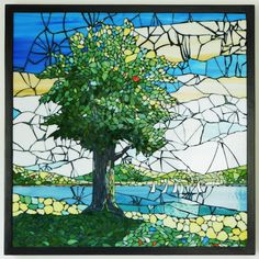 Stained Glass Mosaic Landscape With Tree From PebbleAndMosaic-Etsy by…