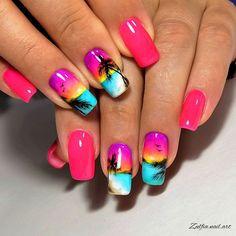 Tropical Nail Designs, Tropical Nail Art, Gel Nail Designs, Sunset Nails, Beach Nails, Palm Tree Nails, Vacation Nails, Swarovski Nails, Bright Nails