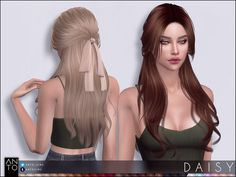 Sims 4 Hairs ~ The Sims Resource: Daisy hair by Anto Die Sims-Ressource: Gänseblümchenhaar von Anto Sims 3, Mods Sims 4, Sims 4 Tsr, Sims 4 Game Mods, Sims 4 Mods Clothes, Sims Four, Sims 4 Clothing, Hair The Sims 4, Sims 4 Anime