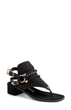 Free shipping and returns on Ivy Kirzhner 'Colossus' Leather Sandal (Women) at Nordstrom.com. Polished dome studs and a strappy harness lend ample attitude to a woven thong sandal cast in lush nubuck leather.