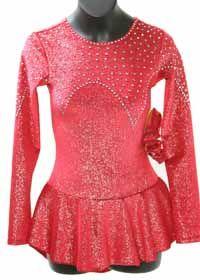 Skating Dress Mondor Red Glitter Velvet Long Sleeve Dress with Swarovski Stone Design  Color: Red  Size: Child 10-12