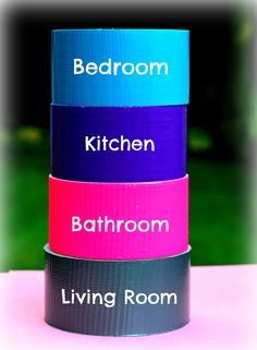Pack smart!  Color coordinate different rooms with the duct tape instead of adding time with labels!    Repinned by www.movinghelpcenter.com Follow us on Facebook! #moving