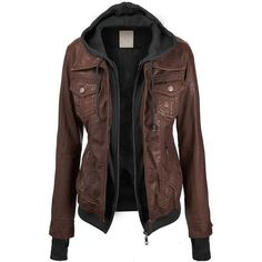 CTC Womens Hooded Brushed Faux Leather Jacket (33 CAD) ❤ liked on Polyvore featuring outerwear, jackets, tops, coats, faux leather jacket, brown jacket, vegan jackets, fake leather jacket and vegan leather jacket