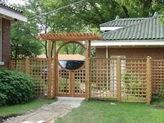 Craftsman lattice side panels attached to Asian style Arched Arbor.