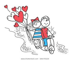 Стоковая иллюстрация «Lovers Boy Girl Ride On Gas», 1641755224 Happy Valentines Day Card, Snoopy, Lovers, Vector Characters, Boys, Illustration, Fictional Characters, Image, Art