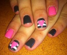 Cute pink  gray nails with hearts
