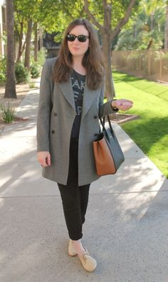 Oversized Gray Coat, Black Jeans