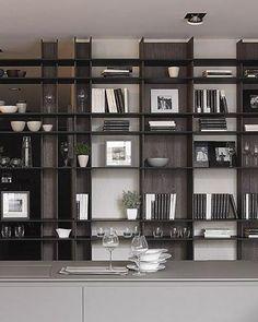 Home Office Design, Home Interior Design, Modern Interior, Interior Decorating, House Design, Bookshelf Design, Living Room Storage, Minimalist Interior, Cabinet Design