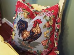 French Country Rooster Pillow---luv this one! Rooster Decor, Red Rooster, Red Hen, French Country House, French Country Decorating, Bench Decor, Shabby, Savvy Southern Style, Target Home Decor