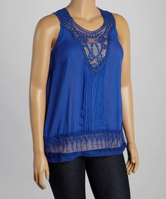 Look at this #zulilyfind! Simply Irresistible Royal Blue Lace Pin Tuck Sleeveless Top - Plus by Simply Irresistible #zulilyfinds