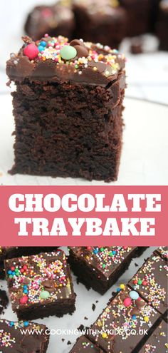 This chocolate traybake (chocolate sheet cake) is deliciously moist and really easy to bake making it perfect for kids to make. Chocolate traybakes are the perfect alternative for a children's birthday cake or as an easy cake sale bake. #chocolate traybake #traybake #chocolate #easy recipe #birthday cake #easy recipe #baking with kids #kids birthday cake #moist #cake sale