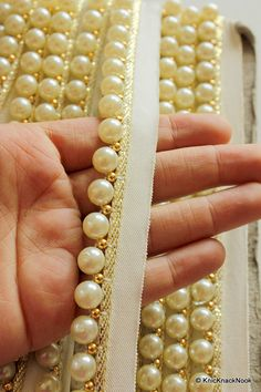 Off White Pearl With Cotton Trim And Gold Piping by KnicKnackNook