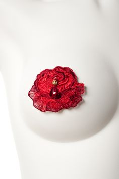 Red rose burlesque pasties. From the Susannah collection at www.missjoneslingerie.com