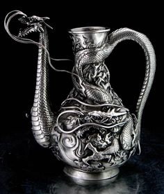 Antique 19th C. Meiji Japanese Sterling Silver Dragon Tea Pot Vase Chinese Attributed Miyata Nobukiyo