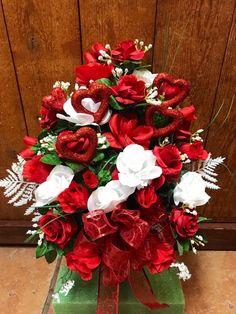 Cemetery flowers - cemetary flowers - Valentine's Day - cone - vase - gravesite decor - Grave Flowers, Cemetery Flowers, All Flowers, Cemetary Decorations, Valentines Flowers, Rose Arrangements, White Roses, Flower Vases, Outdoor Gardens