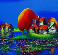 (Vietnam) Lotus Pond by Dao Hai Phong (1965~  ). Oil on canvas.