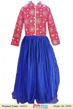 Most Beautiful Designer Hot Pink Party Wear Gown With Velvet Bodice and Blue Flare Design for Kids