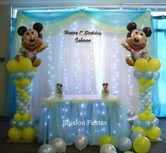 Festa Mickey Baby, Minnie Mouse Theme Party, Mickey Mouse 1st Birthday, Baby Boy 1st Birthday, Mickey Mouse Parties, Mickey Party, Girl Baby Shower Decorations, Baby Shower Themes, Mickey 1st Birthdays