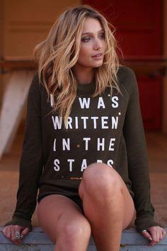 WRITTEN IN THE STARS RAGLAN SWEATSHIRT MATCHA GREEN