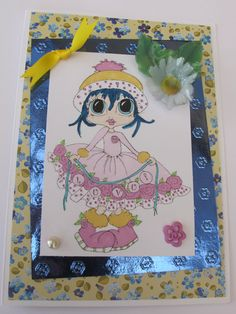 Digi Image coloured with Promarkers.  Embellishments and Background Paper and Mirror Card by Creata