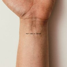 Your Time Is Limited Temporary Tattoo (Set of to make temporary tattoo crafts ink tattoo tattoo diy tattoo stickers Hand Tattoos, Wörter Tattoos, Finger Tattoos, Tatoos, Equality Tattoos, Lyric Tattoos, Word Tattoos On Arm, Cute Ankle Tattoos, Dainty Tattoos