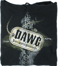 """Stay warm with this comfortable black hooded sweatshirt. The front reads, """"DAWG - Devoted Accepted Warrior for God."""""""