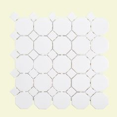 Jeffrey Court Retro Octagon White Dot 11-1/2 in. x 11-1/2 in. x 6 mm Porcelain Mosaic Tile