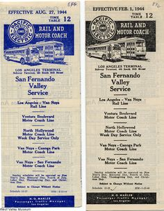 """The covers of two Pacific Electric Lines time tables, San Fernando Valley Service. The """"Red Car"""" ran through the San Fernando Valley starting around 1911 and ended in the 1950s.  West Valley Museum. San Fernando Valley History Digital Library."""