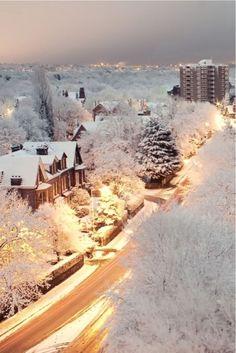 Snowy Dusk, London.